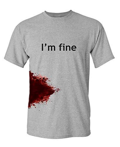 I'm Fine Graphic Novelty Sarcastic Funny T Shirt L Sport Grey
