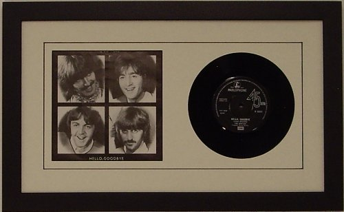 """Frame My Collection 45rpm 6 7/8"""" Vinyl Record and Record Sleeve Frame Featuring White Mat Design (Black Trim) and Solid Wood Black Frame 45% UV Glass"""