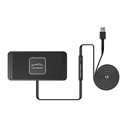 APROTII C1 Cargador inalámbrico QI para coche, 10 W, almohadilla de carga inalámbrica para Samsung Fast QI Cargador de teléfono para iPhone X 8plus S7S9S6NOTE8