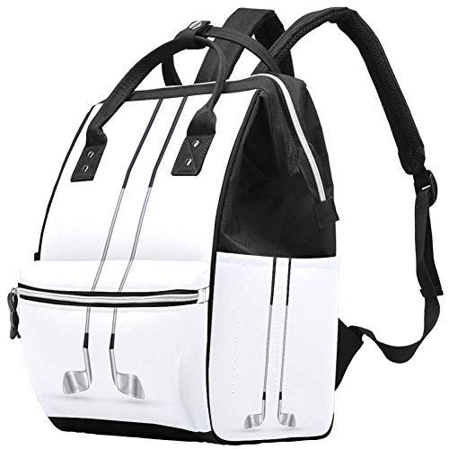 Multifunktions-Wickeltasche, Rucksack, Golfschläger-Muster, Wickeltasche, Reiserucksack für Mama und Papa