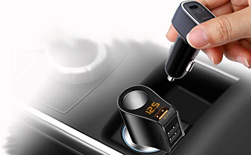 Car Charger Extension Cigarette Lighter Adapter and Type C PD QC 3.0 USB Car Charger, Total 5 USB for Charging