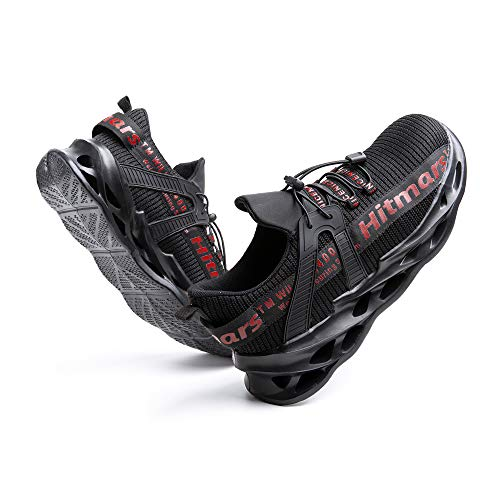 [Hitmars] 安全靴 メンズ あんぜん靴 レディース 作業靴 ふみぬき防止 スニ一カ一 軽量 むれない 軽業 鉄芯入り セーフティーシューズ おしゃれ 耐油性 耐滑 鋼先芯 工事現場 レッド 24.5�p