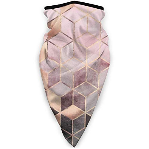 IZOU Pink And Grey Gradient Cubes Neck Gaiter Face Mask,Multifunction for Man Women seasons Magic Scarf Bandana Balaclava
