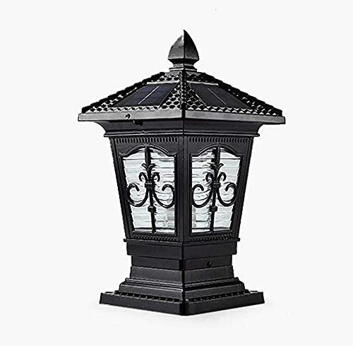 DERUKK-TY Post Lantern LED Solar Lujoso Colonial Contemporáneo Negro Lámpara de Columna Exterior de Aluminio Patio Deck Luces de Pilar LED solares (Color: 38 * 18.5cm)