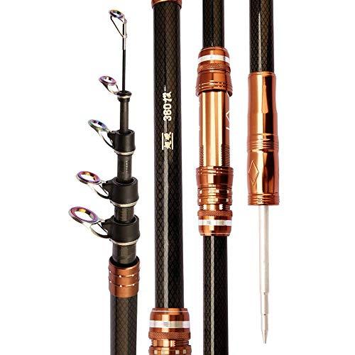 DealMux Angel Canna da pesca telescopica Be Carbon Casting Rod 2.1-4.5m Freshwater Feeder Fishing Ultra Light Hard Pole for Carp (Colore: Multicolore, Dimensioni: 3.6)