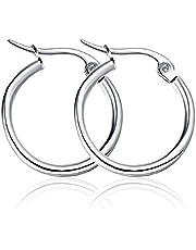 Oyshome One Pair Ninja Silver Stainless Steel Ear Hoop Stud Earrings Huggie For Men