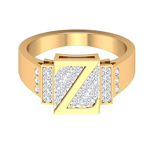 Anillo inicial personalizado, anillo de compromiso único, anillo de diamante HI-SI 1/2 quilates, anillo de letra Z, anillo alfabeto, anillo de boda, anillos para mujeres, 14K Oro amarillo, Size:EU 46