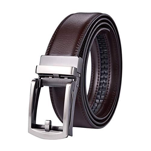 UKtrade - Cinturón de piel de vaca para hombre, con hebilla automática, segunda capa, color café, multicolor