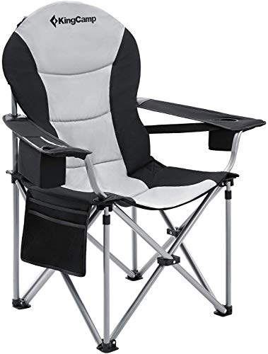 KingCamp Oversized Heavy Duty Padded Outdoor Camping Folding Chair with Lumbar Back Support, Cooler, Armrest, Cup Holder, Side Pocket, Supports 353 lbs, Black