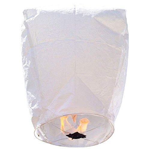 Yayoshow 10 PCS Chinese Sky Lanterns Wishing Lantern for Birthdays, Holidays, Weddings, Party (White)
