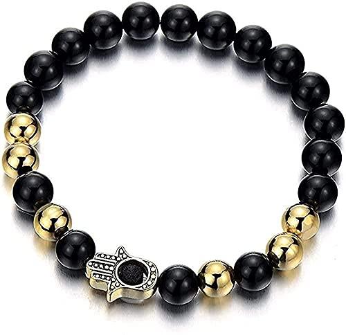 YOUZYHG co.,ltd Collar Acero Mano Dorada de Fatima Hombres Mujeres Perlas de ónix Negro Pulsera Protección Oración Mala-01