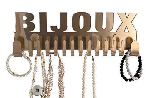 Soporte de pared para joyas de Galeara, con texto de joyas (Mika Bijoux Gold)