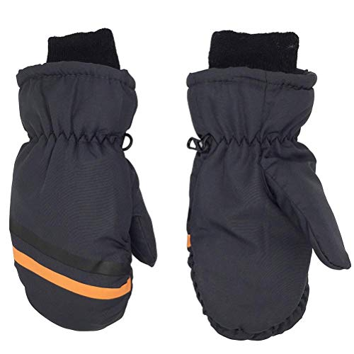 TiKiNi Ski Mittens for kids, Children Snow Gloves for Girls Boys Winter Warm Keeping Gloves Outdoor Triple Waterproof Cotton-lined Gloves for skiing hiking cycling Aged 8-12 (1 Pair)