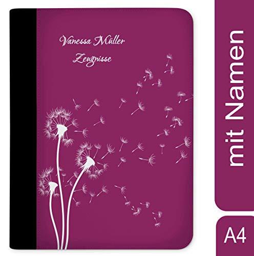 CreaDesign, Z-O-1136-09 Kinder Zeugnismappe mit Namen personalisiert, Motiv Pusteblume Brombeere, A4, 24 x 31 x 1 cm, Rücken schwarz