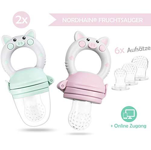 Nordhain Fruchtsauger Set 2020 Rosa für glückliche Babys - helfender Freund für besonderes Geschmackserlebnis - schmerzlindernder Beißring & Fruchtschnuller zugleich.
