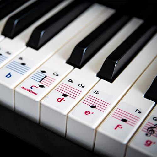 Klavier & Keyboard Noten-Aufkleber für 49/61 / 76/88 Tasten Pianos (2 Oktaven) - 3 Sprachen - Kostenlose Klavierlektionen - Piano Sticker Made in Germany