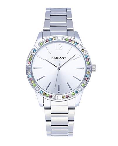 Reloj analógico para Mujer de Radiant. Colección Shiny Pastels. Reloj de Brazalete Plateado con Esfera a Tono y pedrería de Colores en el Bisel. 3ATM. 38mm. Referencia RA566201.