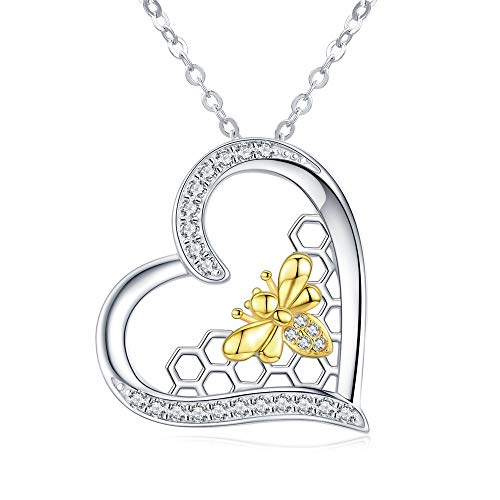 KINGWHYTE Bee Necklace 925 Sterling Silver Love Heart Pendant Jewellery Bee Gifts for Women Girls (Queen Bee Necklace)