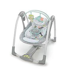 Ingenuity, Hugs & Hoots balançoire pour bébé repliable et portable avec 5 vitesses de balançoire, 8 mélodies, régulation du volume et étrier de jouets amovible