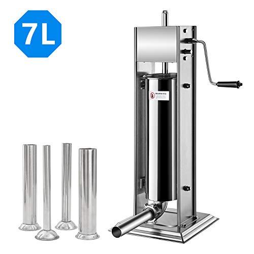 Hengda Hochwertigem Wurstfüllmaschine, 7 Liter Wurstfüller Edelstahl Wurtspresse mit 2 Gang-Getriebe und Vier Verschiedene Füllrohre