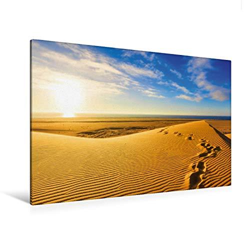 Premium Textil-Leinwand 120 x 80 cm Quer-Format Fußspuren im Sand der Namib | Wandbild, HD-Bild auf Keilrahmen, Fertigbild auf hochwertigem Vlies, Leinwanddruck von Markus Obländer
