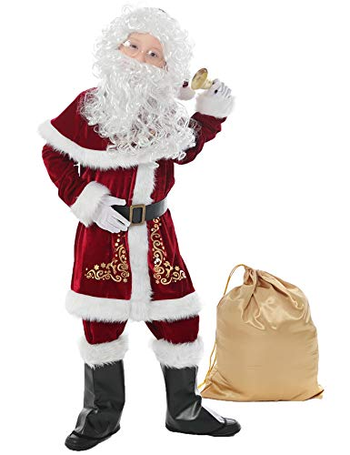 Halfjuly Santa Costume for Kids 12pcs Set Christmas Party Santa Claus Suit for Boys Red Deluxe Velvet Child Cosplay XS
