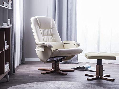 Supply24 Leder Massagesessel Basel Creme Weiss/beige TV Leder Sessel Creme Weiss mit Hocker Schöner günstiger Fernsehsessel für Wohnzimmer