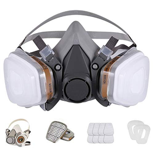 Reusable Face Cover Set for Painting,Gas, Dust, Machine Polishing, Organic Vapors with Filter Cotton for Staining,Car Spraying,Sanding &Cutting, DIY and Other Work Protection