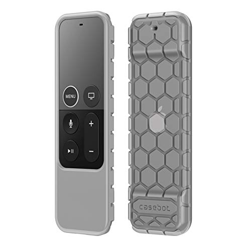 Fintie Protective Case for Apple TV 4K/ HD Siri Remote (1st Gen) - Honey Comb Lightweight Anti Slip ShockProof Silicone Cover for Apple TV 4K 5th 4th Gen Siri Remote Controller, Semi-Transparent Smoke
