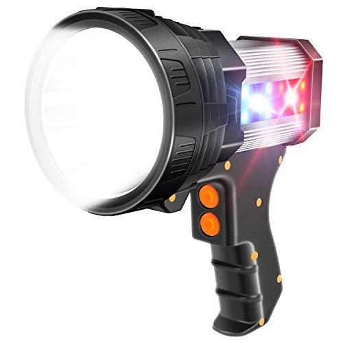 Limechoes Spotlight 6000 Lumen LED Spotlight Flashlight Handheld Rechargeable Spot light 9600mAh Long Lasting Large IPX 4 Waterproof Torchlight Searchlight and Floodlight USB Output (Silver)