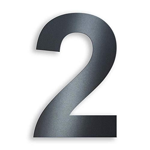Metzler Hausnummer in Anthrazit - RAL 7016 Anthrazitgrau Feinstruktur Pulverbeschichtet – selbstklebend - Schrift Arial – massiver Stahl – Höhe 7,5 cm – Ziffer 2