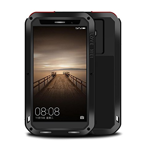 Eastcoo Kompatibel Huawei Mate 9 Hülle Hülle, wasserdicht stoßfest Alloy Aluminum Metal Bumper Gorilla Glass Military Schwer Starkes hartes Hülle Tasche Cover (Black)