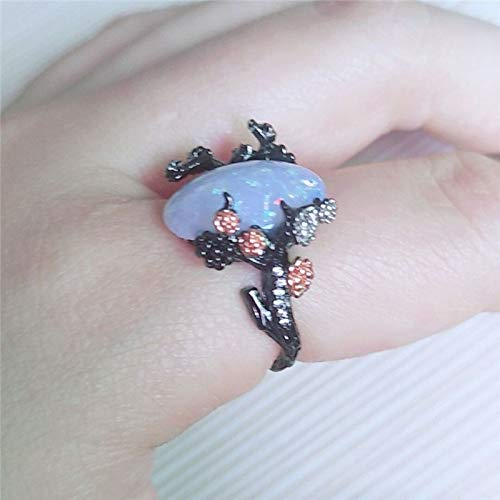 Decorations Woman Vintage Black Gold Color Ring White Fire Opal Flower Rings Size:6 Ring