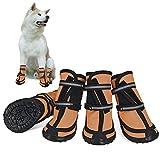 Dociote Zapatos para Perros, 4Pcs Antideslizante Botas con Correas Resistente, Impermeables Protectores de Patas para Perros Medianos y Grandes Naranja XL