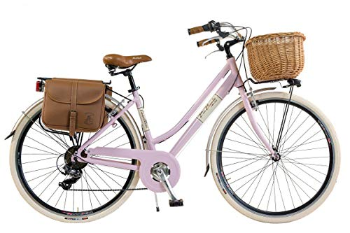 Via Veneto by Canellini Damen Citybike CTB Vintage Stil Rad Cityrad Fahrrader Bike Aluminium mit Korb Taschen und Klingel Via Veneto Bell Ring (46, Rose)