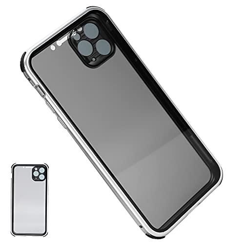FECAMOS Fundas para teléfonos móviles, evitan Que se asome más Ajuste Sensible Adsorción magnética Original sin Costuras Vidrio Templado Transparente Vidrio de Dos Lados para teléfono para Oficina
