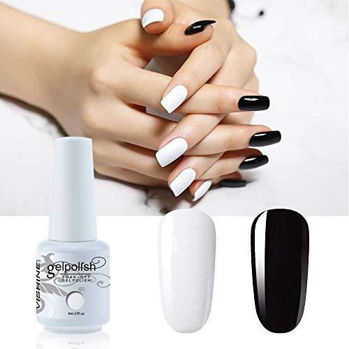 Vishine Lot de 2 Couleurs Blanc et Noir Vernis à Ongles Gel Semi Permanent Soak Off UV LED Gel Nail Polish Nail Art Manucure 8ml