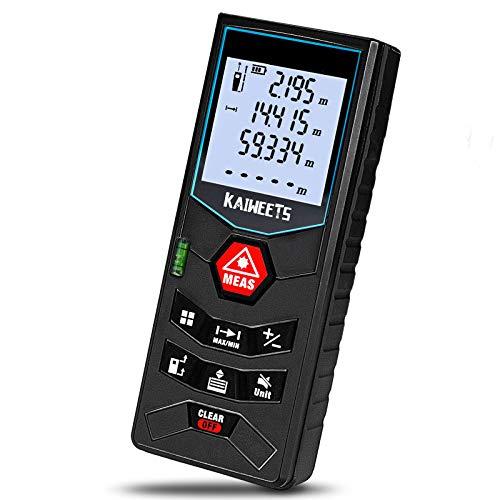 Laser-Entfernungsmesser 60M, Kaiweets Distanzmessgerät(Flächen-/Volumen/Pythagorasberechnung, Messbereich: 60 m,Genauigkeit:±2 mm,2x 1,5-V Batterien, Schutztasche, Trageschlaufe)