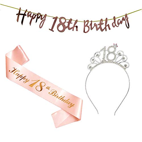 18 Compleanno Fascia Oro Rosa 18 Anni di Compleanno Donna Tiara Birthday Corona per Compleanno 18 Coroncina di Compleanno Happy Birthday Banner Decorazioni Accessori per Compleanno Ragazza
