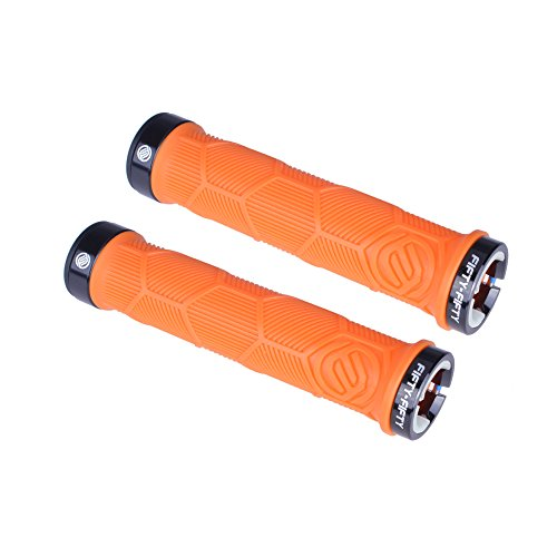 FIFTY-FIFTY Double Lock-On Mountain Bike Grips, Bicycle Handlebar Locking Grips, Non-Slip MTB Handle Grips (Orange)
