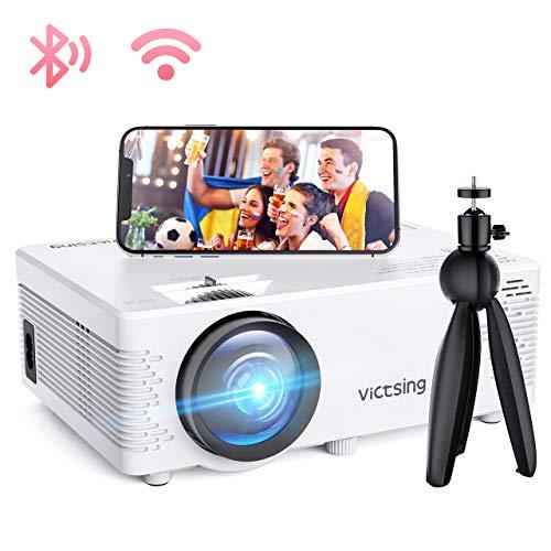 Mini Beamer, VicTsing WiFi Beamer Full HD 4500 Lumen Bluetooth LED Projektor, 1080P HD 170 \'\' Display 50000 Stunden, Wireless Video Beamer Kompatibel mit Smartphone, TV Stick, HDMI, VGA, SD, AV, USB