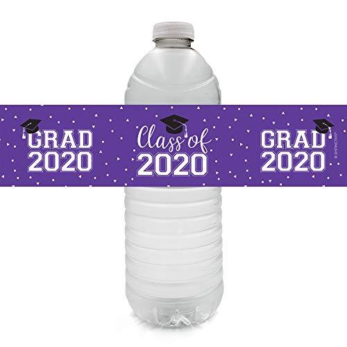Class of 2020 Graduation Water Bottle Labels - 24 Stickers (Purple)