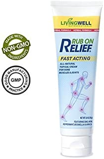 Rub on Relief - 3 Ounces - Natural Fast Acting Pain Relief for Neck Pain Relief, Lower Back Pain Relief, Joint and Knee Pain