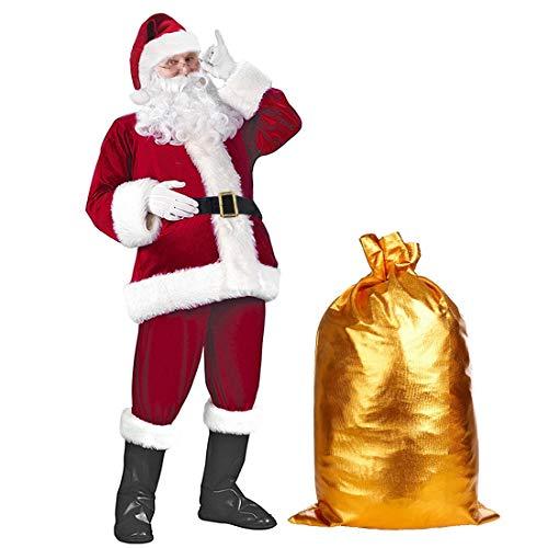 Mens Deluxe Santa Suit Accessories 10pc Christmas Ultra Velvet Adult Santa Claus Costume Santa Suit for Men