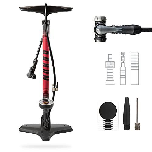 AARON Sport One Fahrrad Standpumpe mit Manometer für alle Ventile, Hochdruck Fahrradpumpe Rennrad, Luftpumpe, Pumpe mit Ball Aufsatz Rot