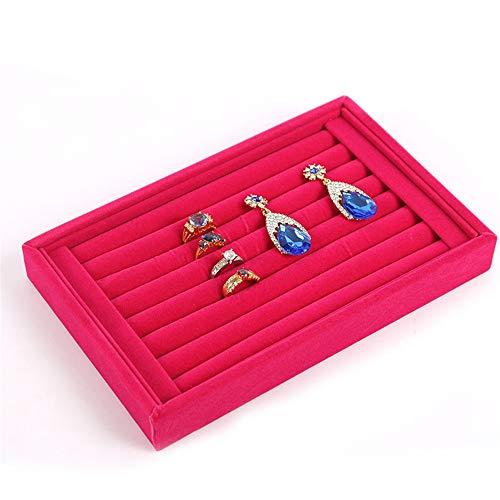 Wagsiyi-cof Schmuckständerhalter 2Velvet 7 Slots Ring Ohrringe Studs Tray Showcase Display Schmuck Veranstalter (Farbe : Rose rot, Größe : 23 * 15 * 3cm)
