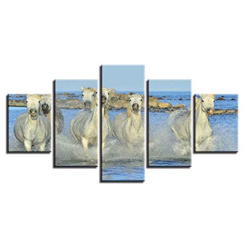 ZSYNB 5 Leinwandbilder Home Wandkunst Modern HD Print Dekor Bild 5 Stück Tiere Weißes Pferd im Wasser Laufende Landschaft Modulare Leinwandbilder
