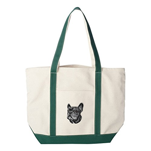 Cherrybrook Dog Breed Embroidered Canvas Tote Bags - Green - French Bulldog