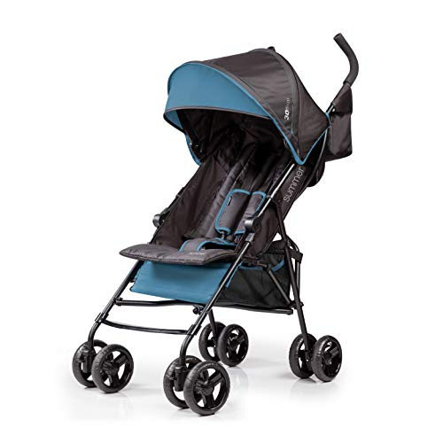 Summer 3Dmini Convenience  Stroller, Blue/Black - Lightweight Infant Stroller with Compact Fold, Multi-Position Recline, Canopy with Pop Out Sun Visor and More - Umbrella Stroller for Travel and More
