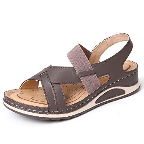 CamfosySandales Femmes Plates Cuir, Chaussures Été Compensée Plateforme Tongs Plage Sports d'été Semelle Confort Talon Plat Enfiler 2020pour Pieds Larges Fort